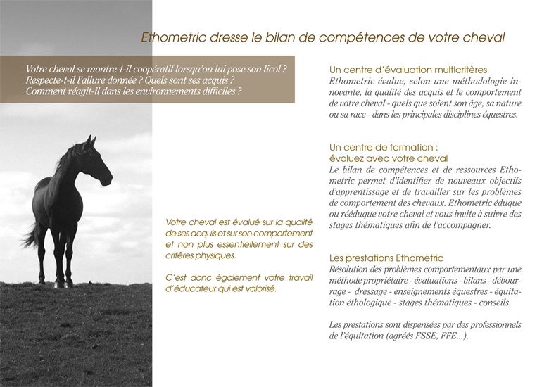 Ethometric dresse le bilan de compétences de votre cheval